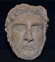 Head of Noble Man or Emperor -Terracotta on Wood Mount - Roman 250-300 AD