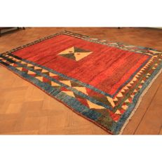Hand-knotted carpet, Gabbeh nomad's work, wool on wool, made in IRAN, 278 x 198 cm
