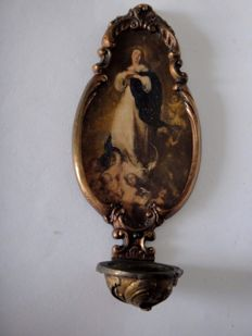 Antique Florentine bronze stoup with a painted medallion of the Immaculate Virgin of B.E. Murillo, Italy (Tuscany), 19th / 20th century