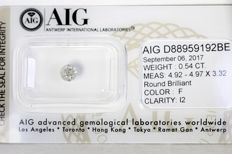 AIG Diamond - 0.54 ct - F, I2 - No Reserve Price
