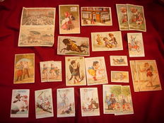 Superb collection of 60 advertising cards from 1880 from the big shops and companies of Paris