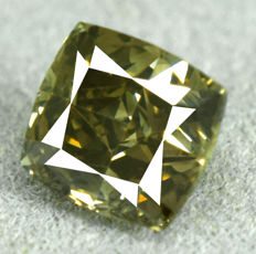 Diamond - 1.08 ct SI2 Natural Fancy Dark Yellowish Green