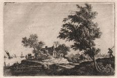 Anthonie Waterloo (1610-1690) -  A traveller passing two large trees -  Ca. 1650-70