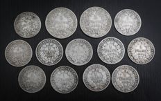 France – 1 Franc & 2 Francs 1872/1895 'Cérès' (lot of 13 coins) – Silver.