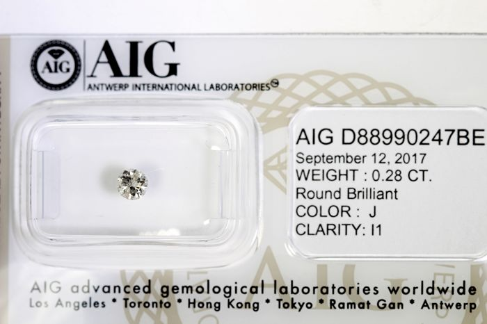 AIG Diamond - 0.28 ct - J, P1 - No Reserve Price