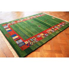 Handwoven carpet, Gabbeh, made by nomads, wool on wool, made in India, 245 x 171cm