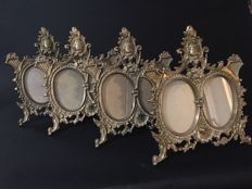 Four (4) big beautiful antique bronze photo frames, double, Belgium/France, ca 1900