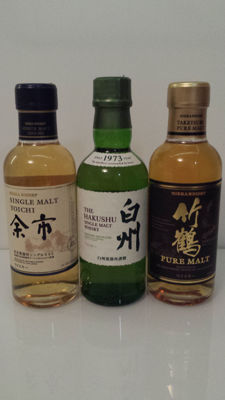 3 bottles - Nikka Yoichi Single Malt, Suntory Hakushu Single Malt, Nikka Taketsuru Pure Malt  - very rare 180 ml bottles