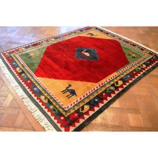 Hand-knotted carpet, Gabbeh, made by nomads work, carpet, wool on wool, made in IRAN, 250 x 200 cm