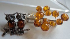 """Brooche  """"Tree of happiness & the Owls"""" - natural Baltic amber - zilver 925 - no pressed - UV test"""
