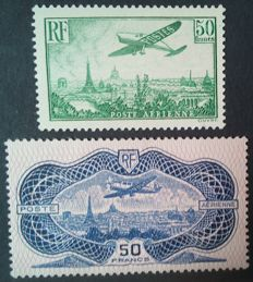 France 1936 - Airmail, 50 Fr green and 50 Fr overseas burelage - Yvert no 14 and 15.
