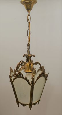 Bronze Hall Chandelier with Crystal Cut Glass - France -1st half 20th century
