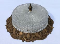 Large old ceiling lamp - crystal glass