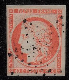 France 1850 - 40c orange - Yvert no. 5