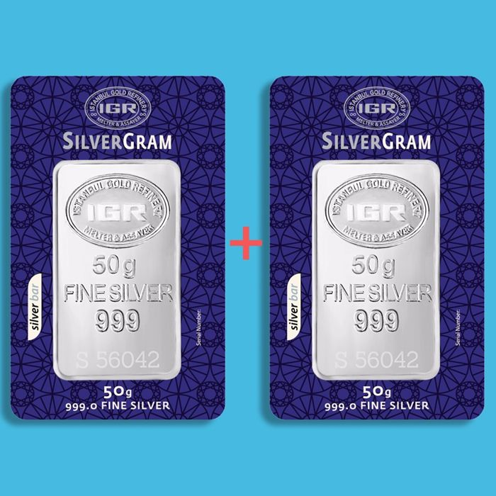 2x50 g - Total 100g - Plata .999 - IGR - Sello + certificado