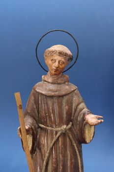 Hand painted terracotta sculpture depicting Saint Francis of Assisi - Italy - late 19th century