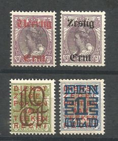 The Netherlands 1919/1923 - Provisional issue and clearance issue - NVPH 102/103 + 132/133