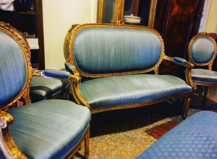 Gold and light blue sitting set in Louis XVI style: sofa, armchair and 4 chairs - Italy - ca. 1900