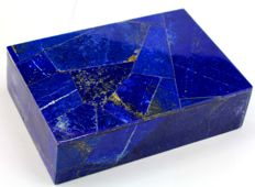 Hand-crafted Royal Blue Lapis Lazuli and Marble Jewellery Box - 150 x 112 x 42 mm - 900 gm