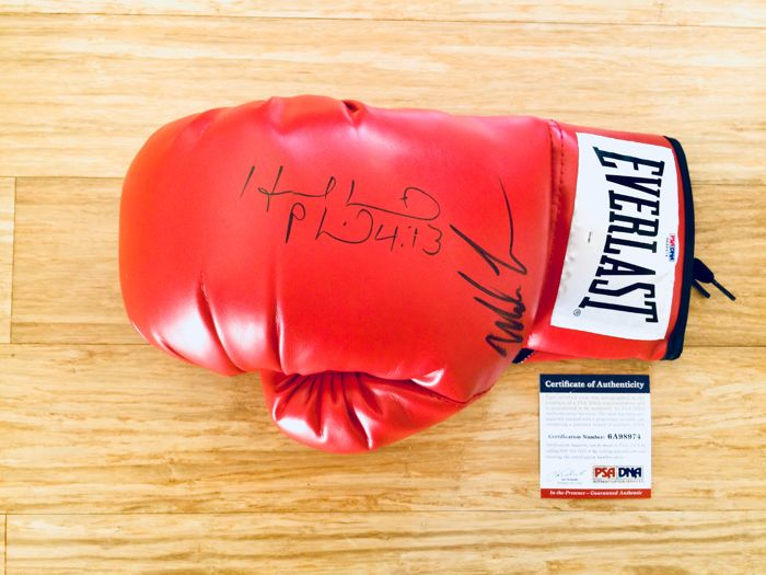 Mike Tyson & Evander Holyfield /  Original Signed Everlast Red Boxing Glove - with Certificate of Authenticity PSA/DNA and STEINER Hologram