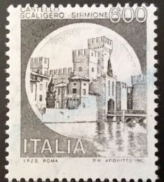 Italy 1980 - Castello Scaligero 'Sirmione', 600 Lire, variety with no green print - Sassone no. 1141Ad