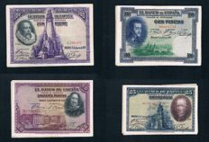 Spain - 40  Spanish banknotes - 1925/1928 - Pick 69,74,75 and 76a