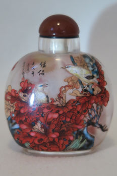 Snuff bottle painted inside with birds and plants, signed by the artist YunShi - China 21st century