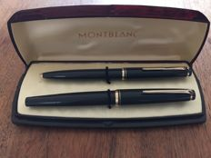 Unique Montblanc No 22 set in dark grey, fountain pen + ballpoint pen.