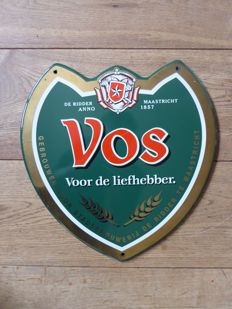 Enamel advertising sign beer brand Vos from the 1990s
