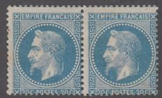 France 1860 - 20c blue pair - Yvert no. 29A