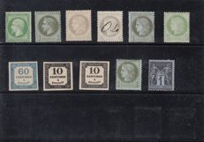 France 1860/1900 - lot of stamps chosen for nice cancellations, including red, blue, vendors, small figures, New Year's Day