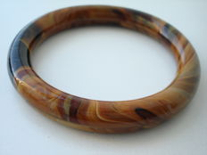 Vintage 1980s - Fall colours genuine Agate Marbled tube Bangle Unisex Bracelet - Pristine