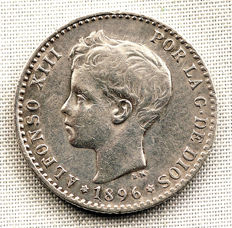 Spain - Alfonso XIII - 50 cents silver coin - 1896 - Madrid.