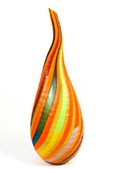 Fabiano D'Este (Vetreria D'Este) - engraved vase with glass canes (60 cm)