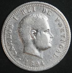 Portugal – 200 Reis in Silver – D. Carlos I – 1894 – Lisbon – AG: 06.06 – Extremely Rare – Outstanding Condition
