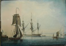 Thomas, Lieutenant Yates  (1765-1796) - Large frigate near a jetty