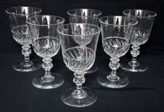 6 Baccarat crystal white wine tulip shaped glasses, Napoleon III period, France, circa 1860