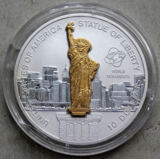 Cook Islands - 10 dollars 2006 'Statue of Liberty' (sculpture coin) partially plated in 24 kt gold - 1 oz silver