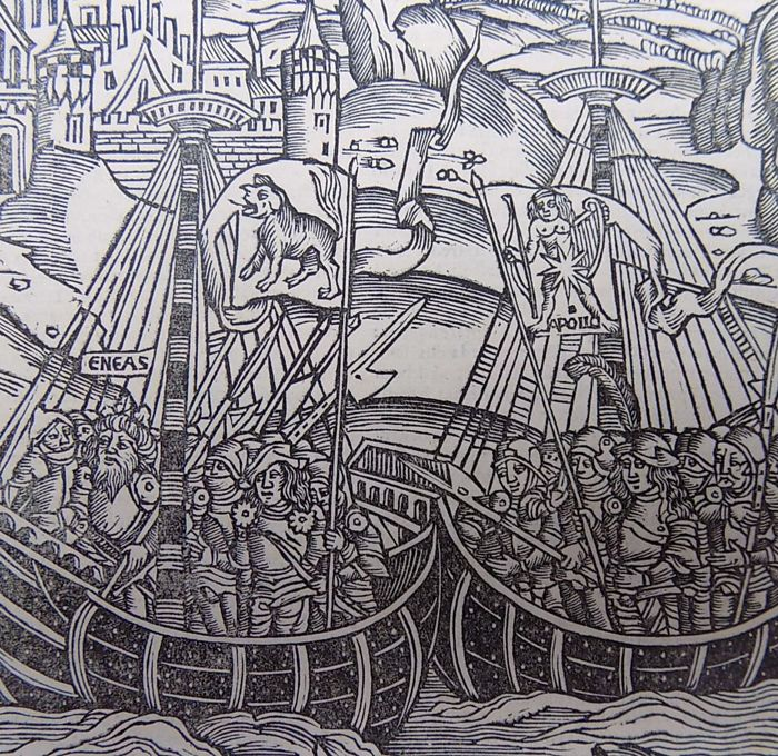 Gruninger Master; Virgil - Giunta Edition -  The Aeneid. The Leaders of the Tuscan Fleet. Galleons - 1515
