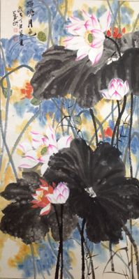 Very beautiful hand painted scroll of lotus (荷塘月色) - China - late 20th century