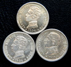 Spain - Alfonso XIII - Lot of 3 silver coins of 50 cents years 1904 *04, 1904 *10 and 1910 *10
