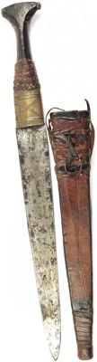 Dagger from Sudan circa 1850-1900 with bronze fittings and leather sheath