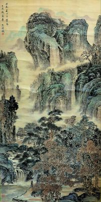 Hand painted large scroll painting, made after Wang shi ming《 王时敏-山水 》- China - late 20th century