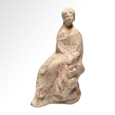 Greek Canosan Bichrome Tanagra Terracotta Figure of a Lady, 13.9 cm L