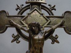Large altar crucifix, yellow copper, beginning of the 20th century