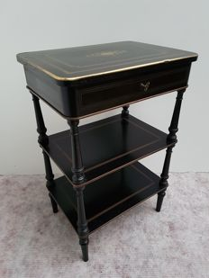 A Napoleon III bois noirci and with brass inlaid etagere - or work table - France - second half 19th century