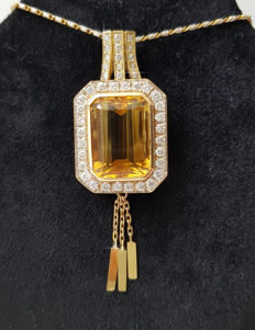 Large & heavy 18 kt Pendant with Helidoor & Diamonds - 21 carat  –!! NO RESERVE PRICE !!–