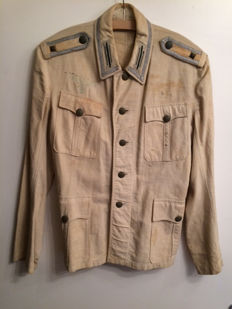 Wehrmacht light beige summer jacket, Africa corps, tropical service, field jacket of a Sergeant around 1941