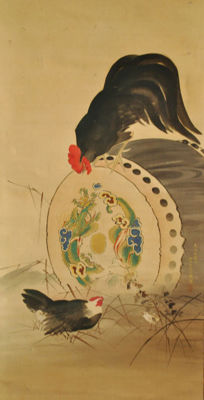 "Large painting ""Fowl and drum"" by Ippō Mori (一鳳 森) - Japan - 1862"