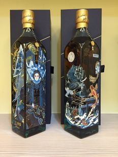 2 bottles - Johnnie Walker Blue Label Whisky China Carp And Dragon & Hong Kong Cantonese Opera design Limited Edition